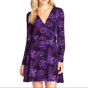 Charles Henry Print Woven Faux-Wrap Dress
